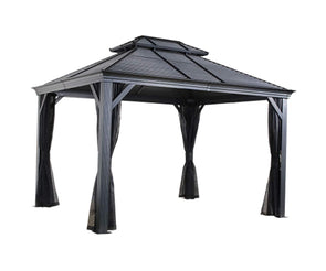 Sojag Mykonos Double Roof Hardtop Gazebo Outdoor Sun Shelter with Mosquito Netting - Senior.com Gazebo