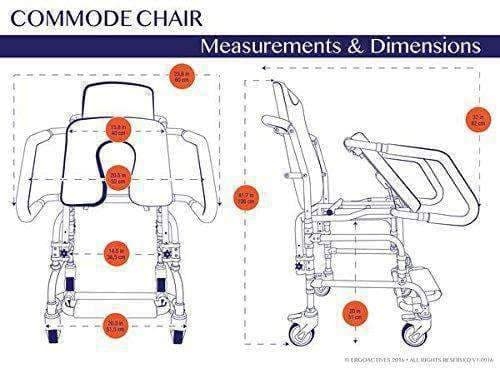 Ergoactives Mobile Deluxe Commode Chair with Assistive Seat- Helps User To Sit Down/Get Up