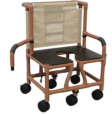 MJM International Bariatric Wood Tone Tilt N Space Shower Chair - Senior.com Shower Chairs