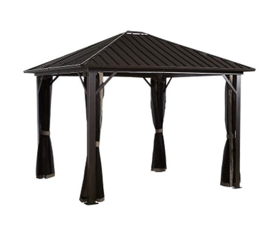Sojag Genova Hardtop Gazebo 4-Season Outdoor Sun Shelter with Mosquito Net - Senior.com Gazebo