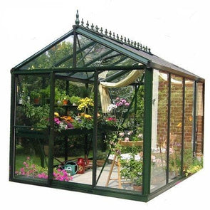 Exaco Royal Victorian Greenhouse in Dark Green with 4mm Tempered Glass - 79 sq ft - Senior.com Greenhouses