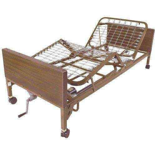 Drive Medical Semi Electric Hospital Bed with Full Rails and Therapeutic Support Mattress