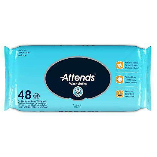 Attends Scented Hypoallergenic Washcloths for Adult Incontinence Care - Latex and Alcohol Free - Case - Senior.com Incontinence