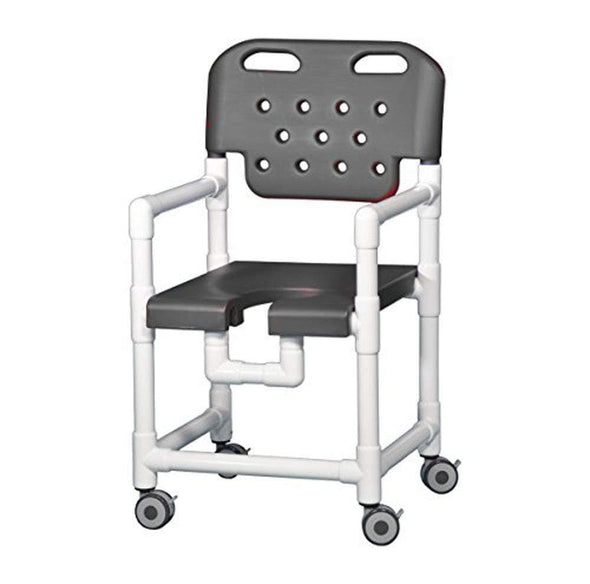 IPU Elite PVC Rolling Shower Chair with Commode Opening - Senior.com PVC Shower Chairs