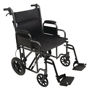 "ProBasic Heavy Duty Bariatric 22 inch Transport Wheelchair with 12"" Rear Wheels - Senior.com Transport Chairs"