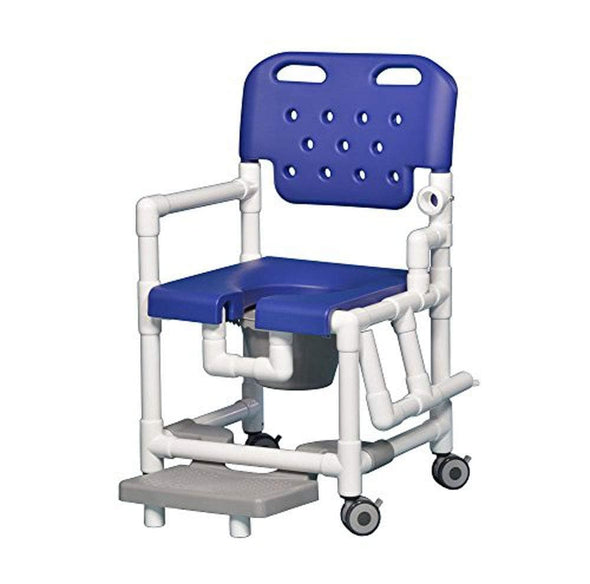 IPU Elite Rolling PVC Shower Chair Commode with Footrest and Left Drop Arm - Senior.com Commodes