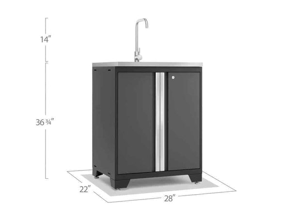 New Age Products Pro 3.0 Series Gray Garage Sink Cabinet - Senior.com Garage Cabinets