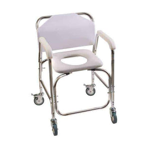 DMI Rolling Shower Padded Transport Chair with Commode Opening