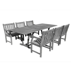 Vifah Renaissance Outdoor 7-piece Hand-scraped Wood Patio Dining Set with Extension Table