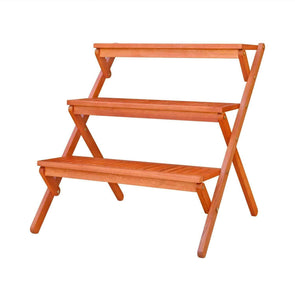 Vifah Malibu Outdoor Three-layer Wood Garden Plant Stand - Senior.com Plant Stands