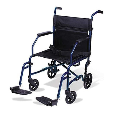 Carex Folding Transport Wheelchair with Foot Rests -  19 inch Seat - Senior.com Transport Chairs