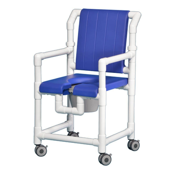 IPU Deluxe PVC Rolling Shower Chair Commode with Open Front Seat - Senior.com PVC Shower Chairs