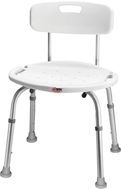 Carex Bath and Shower Seat with Back- Lightweight & Height Adjustable - Senior.com Bath Benches & Seats