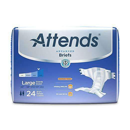 Attends Advanced Unisex Briefs with Advanced Dry-Lock Technology for Adult Incontinence Care-Case - Senior.com briefs