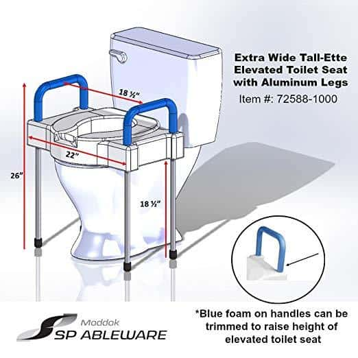 Maddak Tall-Ette Elevated Toilet Seat with Extra Wide Seating Surface and Legs - Senior.com Toilet Seat Risers