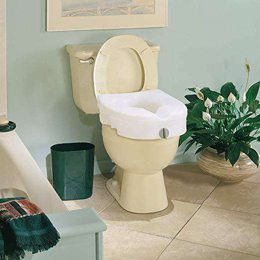 Carex E-Z Lock Raised Toilet Seat - 5 Inches Riser For Round Or Elongated Toilets - Senior.com Raised Toilet Seats