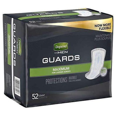 Depend Incontinence Men Guards Maximum Absorbency For Bladder Control - Case of 104 - Senior.com Guards