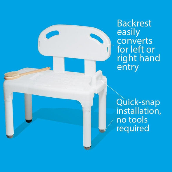 Carex Universal Tub Transfer Bench - Chair Converts to Right or Left Hand Entry - Senior.com Transfer Equipment