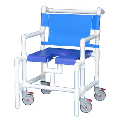IPU Over-Size PVC Bariatric Rolling Shower Chair with Commode Opening - Senior.com PVC Shower Chairs
