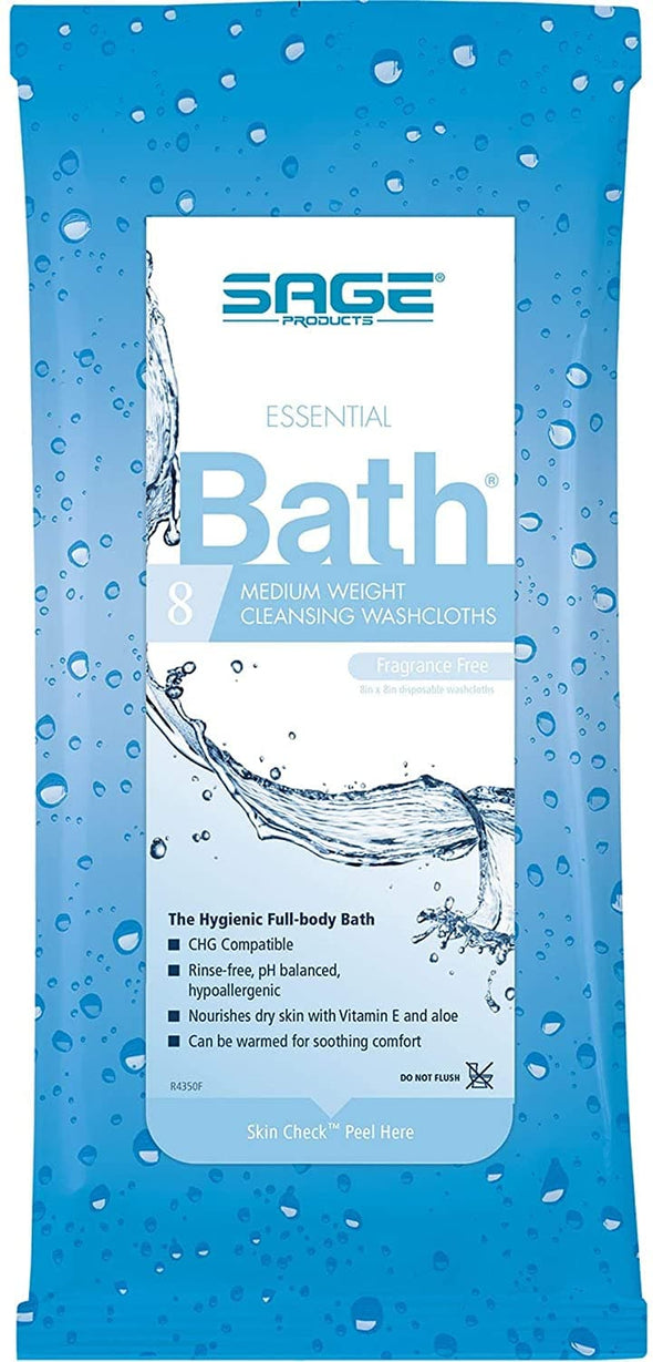Sage Fragrance-Free Comfort Bath Cleansing Washcloths - 8 Wipes Per Pack - Senior.com Bathing Wipes