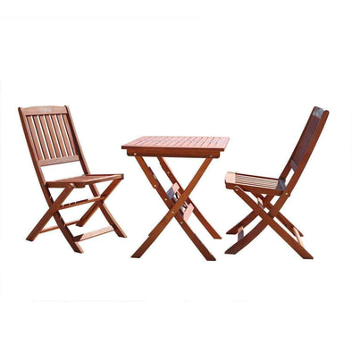 VIFAH Outdoor 3-Piece Bistro Set with Natural Wood Finish - Senior.com Patio Furniture