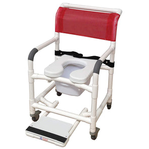 MJM International Standard Shower Chair with Total Lock Casters, Slide Out Footrest, Safety Belt, Commode Pail and Soft Seat - Senior.com Bath Benches & Seats