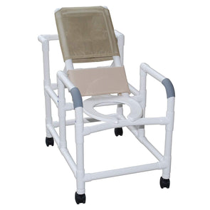 MJM International Echo Reclining Shower Chair w/ Deluxe Elongated Open Front Commode - Senior.com Shower Chairs