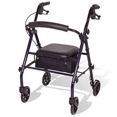 Carex Steel Rollator Rolling Walker with Seat and Back Support - Senior.com Rollators