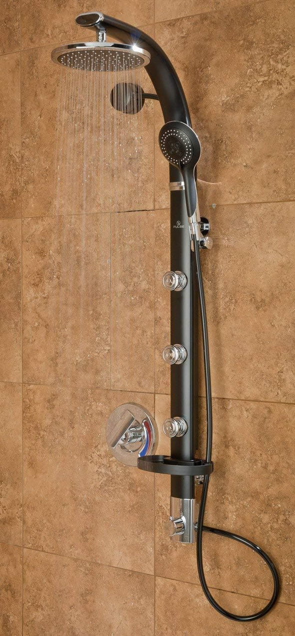 "Pulse ShowerSpas Bonzai Shower System with 8"" Rain Showerhead, 3 Pulsating Body Spray Jets, 5-Function Hand Shower and Integral Shelf - Senior.com Shower Heads"