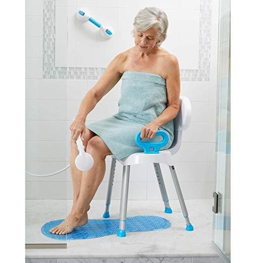 Carex Folding Portable Premium Shower Chair with Backrest & Handles - Senior.com Bath Benches & Seats