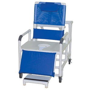 MJM International HD PVC Bariatric Reclining Shower Chair with Elevated Leg Rest and Slide Out Footrests - Senior.com Shower Chairs