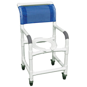 MJM International Standard PVC Shower Chair with Total Lock Casters - 300 lbs Cap - Senior.com Shower Chairs