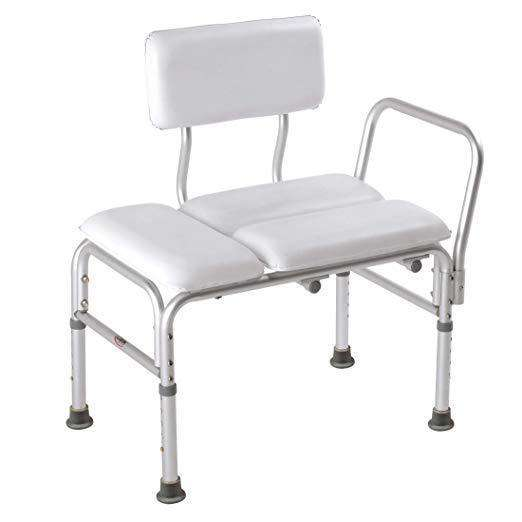 Carex Deluxe Padded Tub Transfer Bench - Height Adjustable Legs