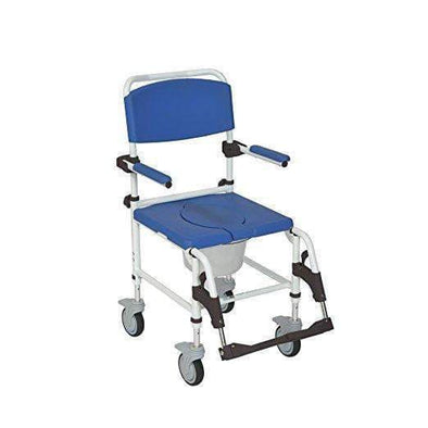 Drive Medical Aluminum Shower Commode Transport Chair - Blue - Senior.com Commodes