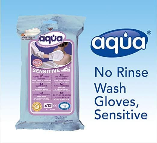 Cleanis No Rinse Total Hygiene Aqua Body Wash Gloves - Pouch of 12 Gloves - Senior.com Bathing Tools