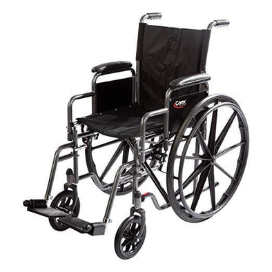"Carex Compact Wheelchair with Large 18"" Padded Seat and Adjustable Swing Away Footrests - Senior.com Wheelchairs"