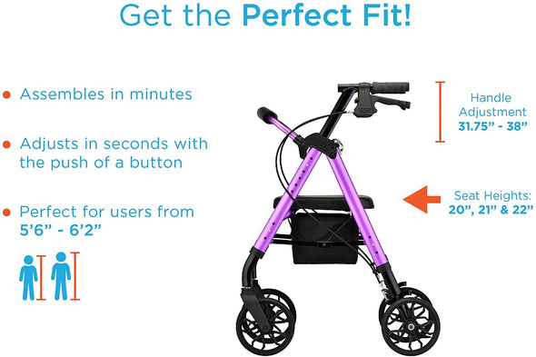 Nova Medical Star 8 Lightweight Rollators with Quick-Fit Push-Button Adjustable Height - Senior.com Rollators