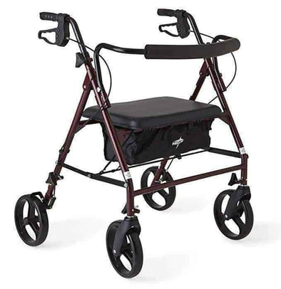 "Medline Heavy Duty Bariatric Mobility Rollator with 8"" Deluxe Wheels - Burgundy - Senior.com Rollators"