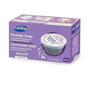 Cleanis Carebag Commode Liner with Super Absorbent Pad - 20 Liners per Box - Senior.com Commode Liners