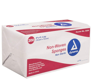 Dynarex Non-Woven Gauze Sponges - 4 x 4 inch 4 Ply - Pack of 200 - Senior.com Gauze Sponges