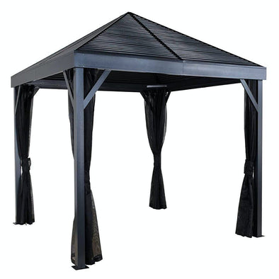 Sojag South Beach Hardtop Gazebo Outdoor Sun Shelter with Mosquito Netting - Senior.com Gazebo