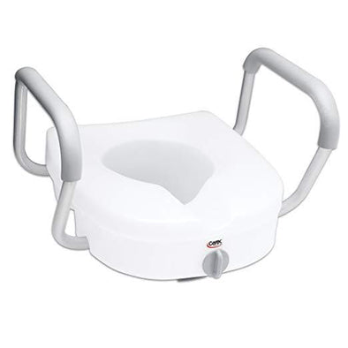 Carex E-Z Lock Raised Toilet Seat with Handles - 5 Inch Toilet Seat Riser with Arms - Senior.com Raised Toilet Seats