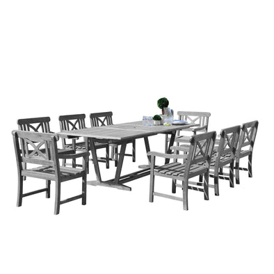 Vifah Renaissance Outdoor 9-piece Hand-scraped Wood Patio Dining Set with Extension Table