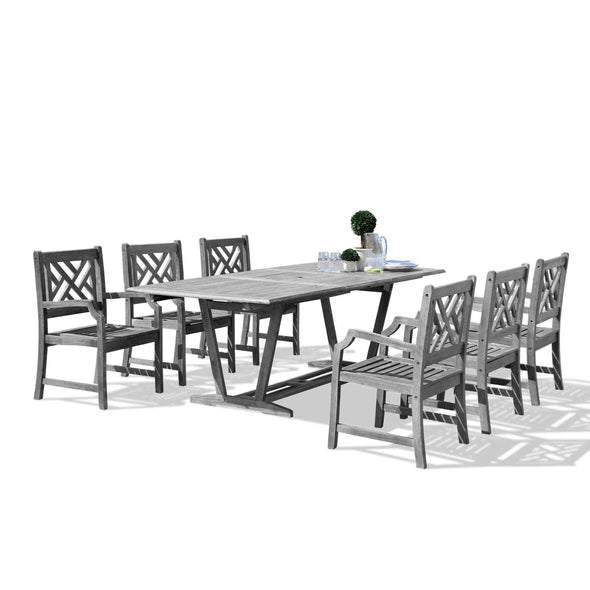 Vifah Renaissance Outdoor 7-piece Hand-scraped Wood Patio Dining Set with Extension Table - Senior.com Outdoor Dining Sets