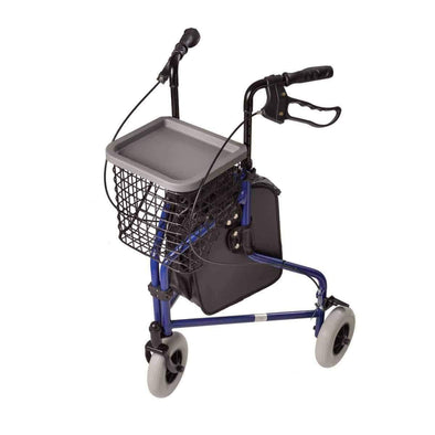 DMI 3-Wheel Folding Lightweight Aluminum Rollator Walker - Royal Blue - Senior.com Rollators