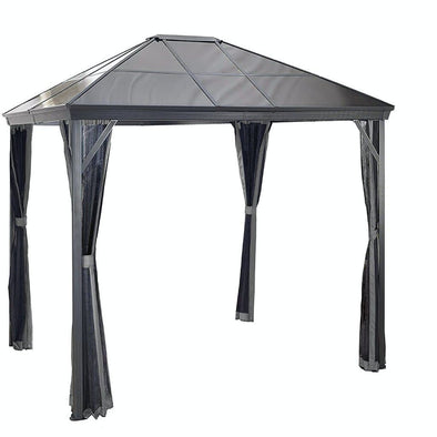 Sojag Verona Hardtop Gazebo Outdoor Sun Shelter with Mosquito Net - Dark Grey - Senior.com Gazebo