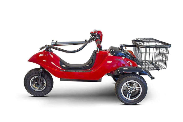 EWheels Sporty Folding Electric 3 Wheeled Scooter with Rear Basket – 15 MPH - Senior.com Scooters
