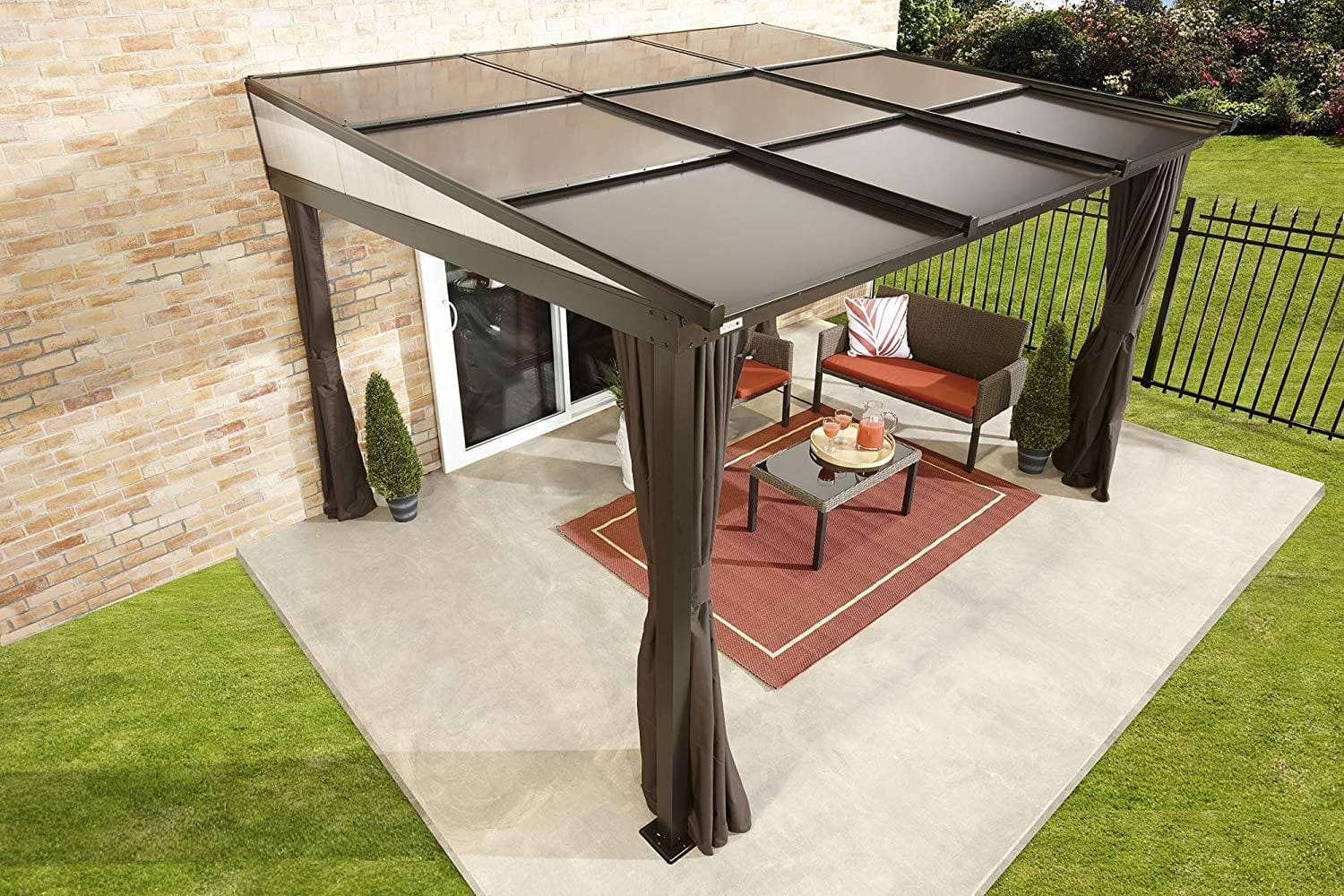 Sojag Outdoor Budapest Wall Mounted Hardtop Gazebo W Privacy Curtains Senior Com