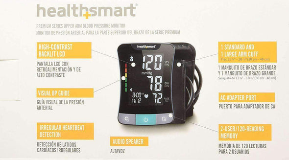HealthSmart Premium Blood Pressure Monitor for Upper Arm with Clinically Accurate Talking LCD Screen - Senior.com Blood Pressure Monitors