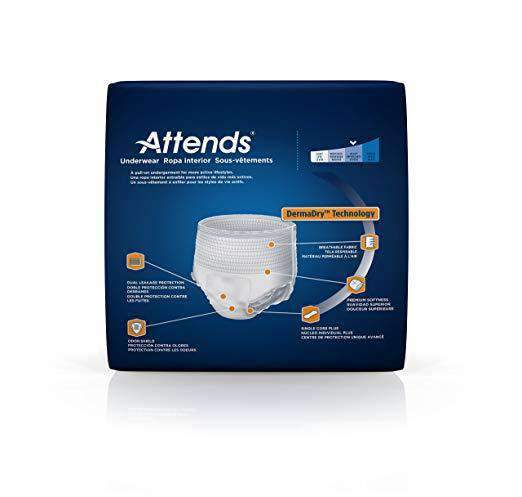 Attends Bariatric Unisex Protective Underwear with DermaDry Technology - XX-Large - Case of 48 - Senior.com Incontinence